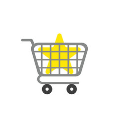 icon concept of star inside shopping cart vector image