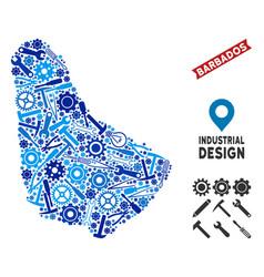 Industrial barbados map collage vector