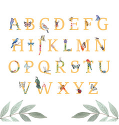 Insect and bird alphabet design with butterfly vector