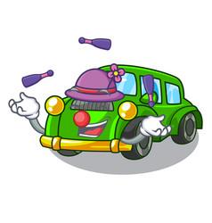 Juggling classic car toys in cartoon shape vector