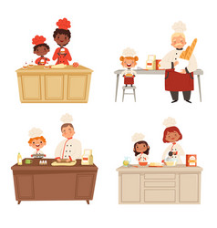 kids cooking chef uniform making food with adults vector image