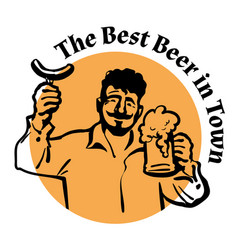 man with beer mug and sausagetwxt the best beer vector image
