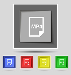 MP4 Icon sign on original five colored buttons vector image