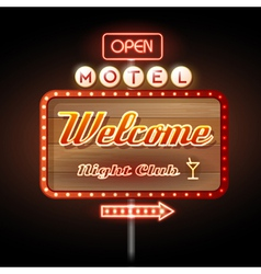 Neon sign motel welcome vector image