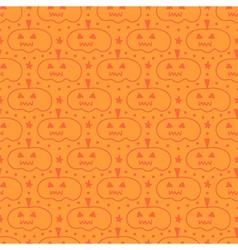 Orange hand drawn halloween pumpkins pattern vector