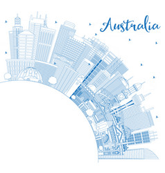 outline australia city skyline with blue vector image