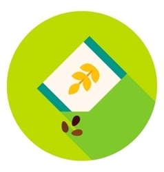 Package with seeds of wheat circle icon vector