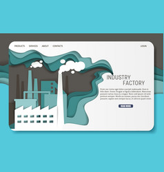 paper cut industrial factory landing page vector image