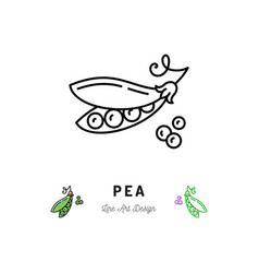 pea icon vegetables logo peas in a pod vector image