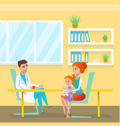 Pediatrician doc appointment in hospital cabinet vector