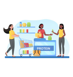 People shopping sportive nutrition vector