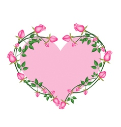 Pink Roses Flowers in A Heart Shape vector