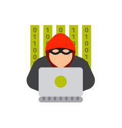 portrait of hacker with mask password security vector image