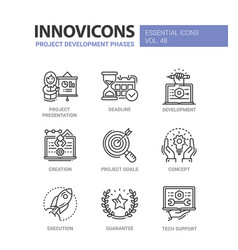 project development phases - modern line vector image