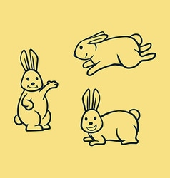 Rabbit Simple Line Art vector image