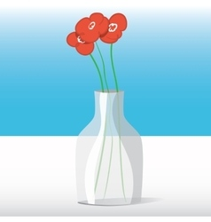 Red flowers in vase vector