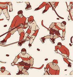 Retro hockey player goalkeeper in sports uniform vector