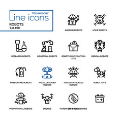robots - line design icons set vector image