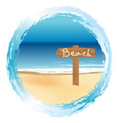 round frame with wooden sign on the beach vector image