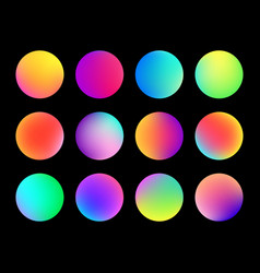 Rounded holographic gradient sphere button vector