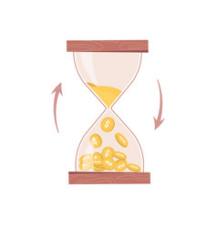 Sandglass or hourglass count down time and money vector