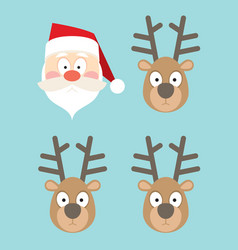 Santa claus and deers faces in flat style vector