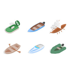 sea boat icon set isometric style vector image