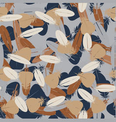 seamless minimalistic pattern with feathers vector image