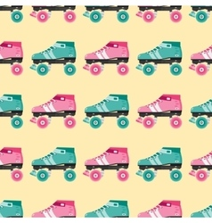 Seamless pattern with retro skates vector