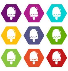 semicircular ice cream icons set 9 vector image
