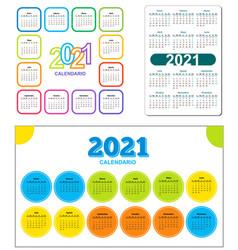 Set color calendar 2021 year spanish circle vector