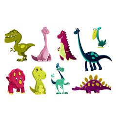 Set dinosaurs baby cute print sweet dinos vector