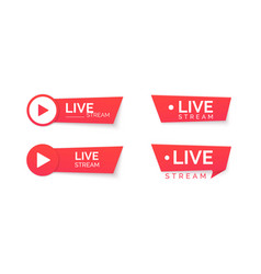 set live stream red icons online streaming vector image