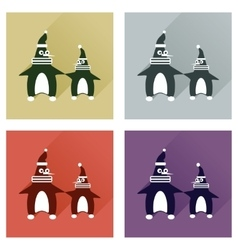 Set of flat icons with long shadow pair penguins vector