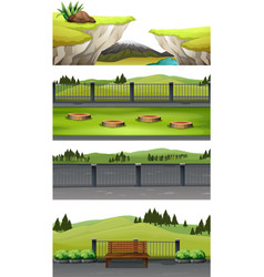 set of national park scene vector image