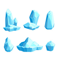 set pieces and crystals ice icebergs vector image
