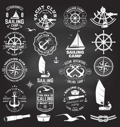 set sailing camp and yacht club badge vector image
