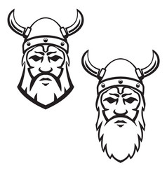 set viking warrior head design element vector image