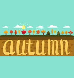 simple landscape set of autumn trees different vector image