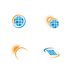 Solar logo energy icon vector