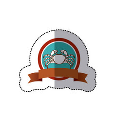 Sticker old background circular border with crab vector