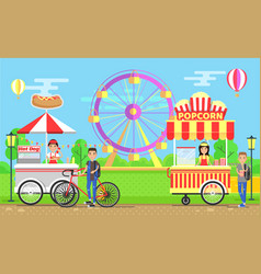Street food carts with vendors in amusement park vector