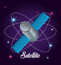 Technology satellite in galaxy atmosphere vector