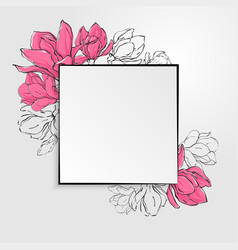 Template with square paper with black border vector