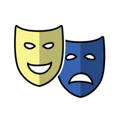 Theatrical drama and comedy masks vector