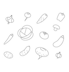 vegetables line icons set icon vegetable vector image