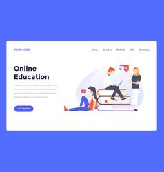 web design flat modern template - online education vector image