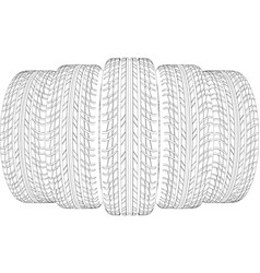 wedge of five wire-frame tires vector image