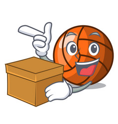 with box volleyball character cartoon style vector image
