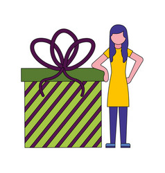 young woman with gift box present icon vector image